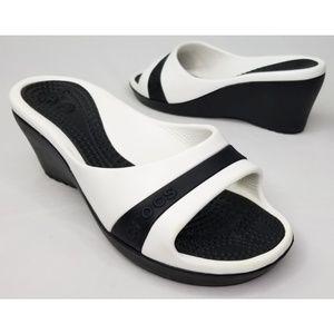 Crocs Black & White Open Toe Wedges Size 8